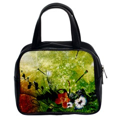 Awesome Flowers And Lleaves With Dragonflies On Red Green Background With Grunge Classic Handbags (2 Sides) by FantasyWorld7