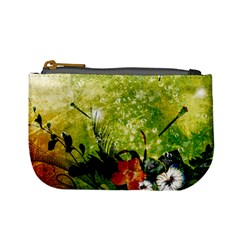Awesome Flowers And Lleaves With Dragonflies On Red Green Background With Grunge Mini Coin Purses by FantasyWorld7