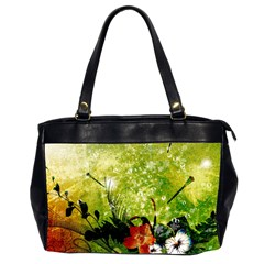 Awesome Flowers And Lleaves With Dragonflies On Red Green Background With Grunge Office Handbags (2 Sides)  by FantasyWorld7
