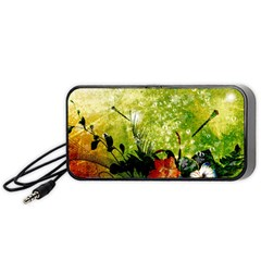Awesome Flowers And Lleaves With Dragonflies On Red Green Background With Grunge Portable Speaker (black)  by FantasyWorld7