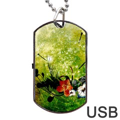 Awesome Flowers And Lleaves With Dragonflies On Red Green Background With Grunge Dog Tag Usb Flash (one Side) by FantasyWorld7