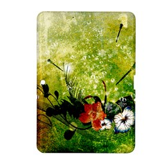 Awesome Flowers And Lleaves With Dragonflies On Red Green Background With Grunge Samsung Galaxy Tab 2 (10 1 ) P5100 Hardshell Case  by FantasyWorld7