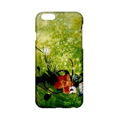 Awesome Flowers And Lleaves With Dragonflies On Red Green Background With Grunge Apple Iphone 6/6s Hardshell Case by FantasyWorld7