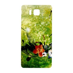 Awesome Flowers And Lleaves With Dragonflies On Red Green Background With Grunge Samsung Galaxy Alpha Hardshell Back Case by FantasyWorld7