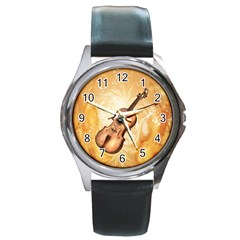 Wonderful Violin With Violin Bow On Soft Background Round Metal Watches by FantasyWorld7