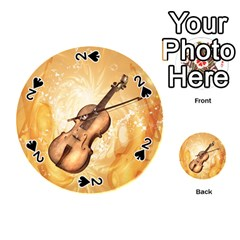 Wonderful Violin With Violin Bow On Soft Background Playing Cards 54 (round)  by FantasyWorld7