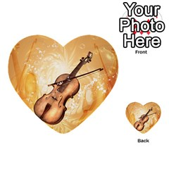 Wonderful Violin With Violin Bow On Soft Background Multi Purpose Cards (heart)