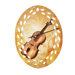 Wonderful Violin With Violin Bow On Soft Background Ornament (oval Filigree)  by FantasyWorld7