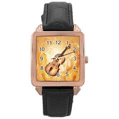 Wonderful Violin With Violin Bow On Soft Background Rose Gold Watches by FantasyWorld7