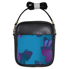 Purple and Turquoise Butterflies Girls Sling Bags by essentialimage