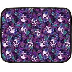 Flowers And Skulls Mini Fleece Blanket (single Sided) by Ellador
