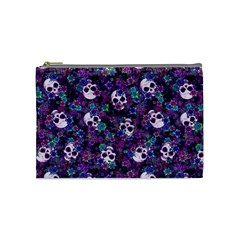 Flowers And Skulls Cosmetic Bag (medium)