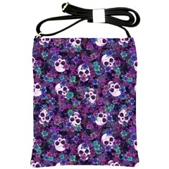 Flowers And Skulls Shoulder Sling Bag by Ellador