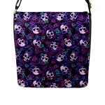 Flowers and Skulls Flap Closure Messenger Bag (L)