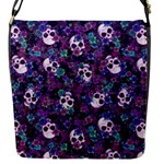 Flowers and Skulls Flap Closure Messenger Bag (Small)