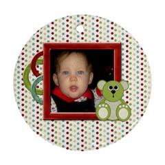Baby s First Chrismas Ornament By Lisa Minor   Round Ornament (two Sides)   5z5cm35eqt12   Www Artscow Com Front