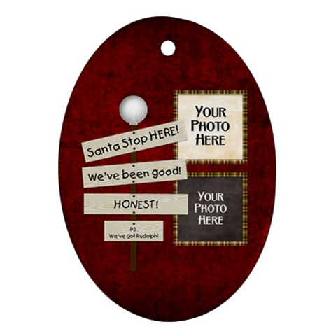 Santa Stop Ornament By Lisa Minor   Ornament (oval)   Vyo1q19wm58u   Www Artscow Com Front