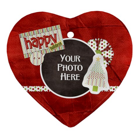 Happy Holidays Heart By Lisa Minor   Ornament (heart)   Edm6x2tabgrj   Www Artscow Com Front