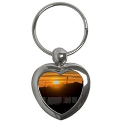 Aerial View Sunset Scene Of Montevideo Uruguay Key Chains (heart)  by dflcprints