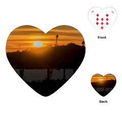 Aerial View Sunset Scene Of Montevideo Uruguay Playing Cards (heart)  by dflcprints