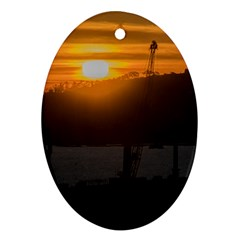 Aerial View Sunset Scene Of Montevideo Uruguay Oval Ornament (two Sides) by dflcprints