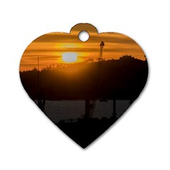 Aerial View Sunset Scene Of Montevideo Uruguay Dog Tag Heart (two Sides) by dflcprints