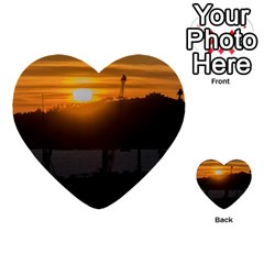 Aerial View Sunset Scene Of Montevideo Uruguay Multi Purpose Cards (heart)