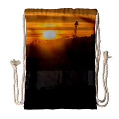 Aerial View Sunset Scene Of Montevideo Uruguay Drawstring Bag (large) by dflcprints