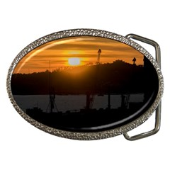 Aerial View Sunset Scene Of Montevideo Uruguay Belt Buckles by dflcprints