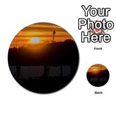 Aerial View Sunset Scene Of Montevideo Uruguay Multi Purpose Cards (round)