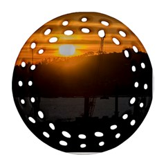 Aerial View Sunset Scene Of Montevideo Uruguay Ornament (round Filigree)  by dflcprints