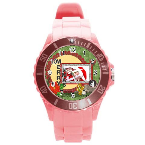 Merry Christmas By Debe Lee   Round Plastic Sport Watch (l)   9zksml8xrisk   Www Artscow Com Front