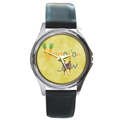vegan jstar_12_7_2015 Round Metal Watch from ArtsNow.com Front