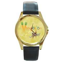 Vegan Jewish Star Round Gold Metal Watch from ArtsNow.com Front
