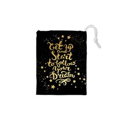 let up and start(gold)4 Drawstring Pouch (XS) by walala