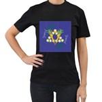 Vegan Jewish Star Women s T-Shirt (Black) (Two Sided)
