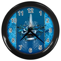 Surf, Surfboard With Water Drops On Blue Background Wall Clocks (black) by FantasyWorld7