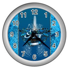 Surf, Surfboard With Water Drops On Blue Background Wall Clocks (silver)  by FantasyWorld7