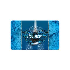 Surf, Surfboard With Water Drops On Blue Background Magnet (name Card) by FantasyWorld7