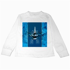 Surf, Surfboard With Water Drops On Blue Background Kids Long Sleeve T Shirts by FantasyWorld7