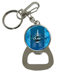 Surf, Surfboard With Water Drops On Blue Background Bottle Opener Key Chains by FantasyWorld7