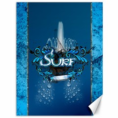Surf, Surfboard With Water Drops On Blue Background Canvas 36  X 48   by FantasyWorld7