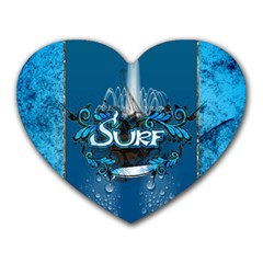 Surf, Surfboard With Water Drops On Blue Background Heart Mousepads by FantasyWorld7