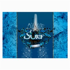 Surf, Surfboard With Water Drops On Blue Background Large Glasses Cloth (2 Side) by FantasyWorld7