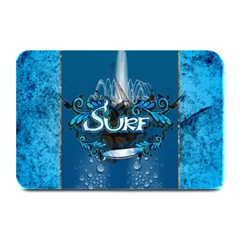 Surf, Surfboard With Water Drops On Blue Background Plate Mats by FantasyWorld7
