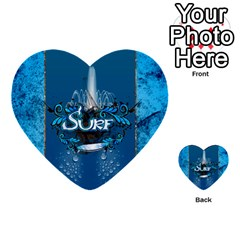 Surf, Surfboard With Water Drops On Blue Background Multi Purpose Cards (heart)  by FantasyWorld7