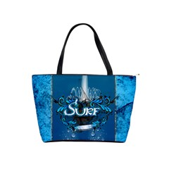 Surf, Surfboard With Water Drops On Blue Background Shoulder Handbags by FantasyWorld7