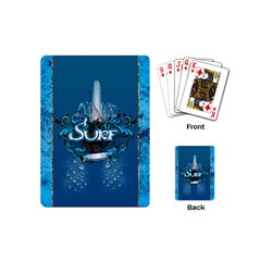 Surf, Surfboard With Water Drops On Blue Background Playing Cards (mini)  by FantasyWorld7