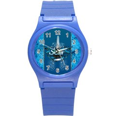 Surf, Surfboard With Water Drops On Blue Background Round Plastic Sport Watch (s) by FantasyWorld7
