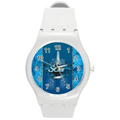 Surf, Surfboard With Water Drops On Blue Background Round Plastic Sport Watch (m) by FantasyWorld7